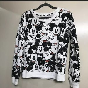 Disney | Black & White Mickey Mouse Print Sweater